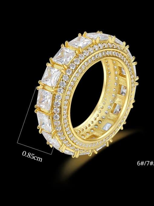 Teem Men Brass Cubic Zirconia Round Hip Hop Band Ring 3