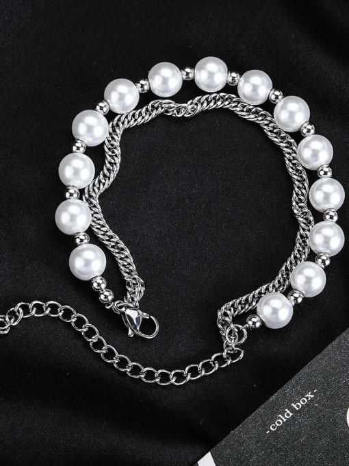 WOLF Titanium Steel Imitation Pearl Irregular Hip Hop Strand Bracelet 1