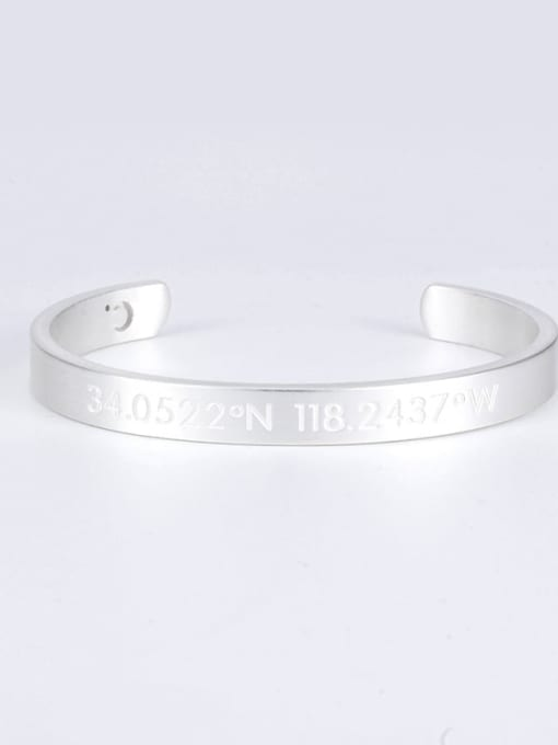 White Titanium Steel Number Hip Hop Cuff Bangle