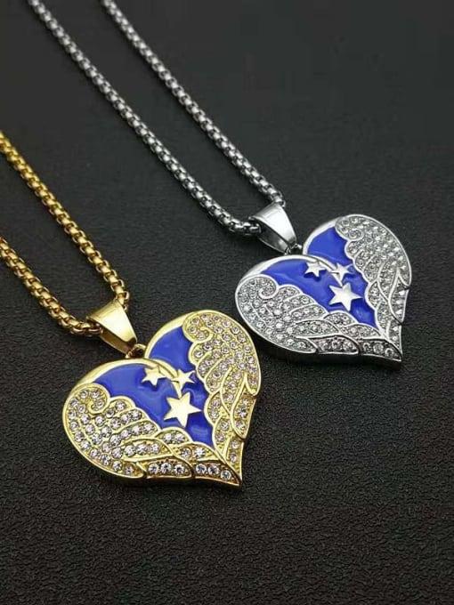 HI HOP Titanium Steel Cubic Zirconia Enamel Heart Vintage Necklace