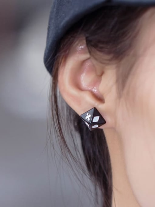 WOLF Titanium Steel Enamel Geometric Vintage Stud Earring 1