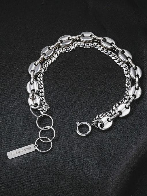 WOLF Titanium Steel Geometric Vintage Strand Bracelet 3