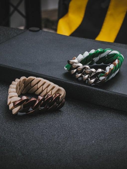 WOLF Titanium Steel Resin Geometric Hip Hop Link Bracelet 2