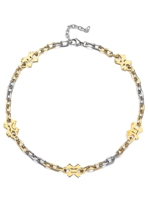Between gold Titanium Steel Flower Hip Hop Necklace