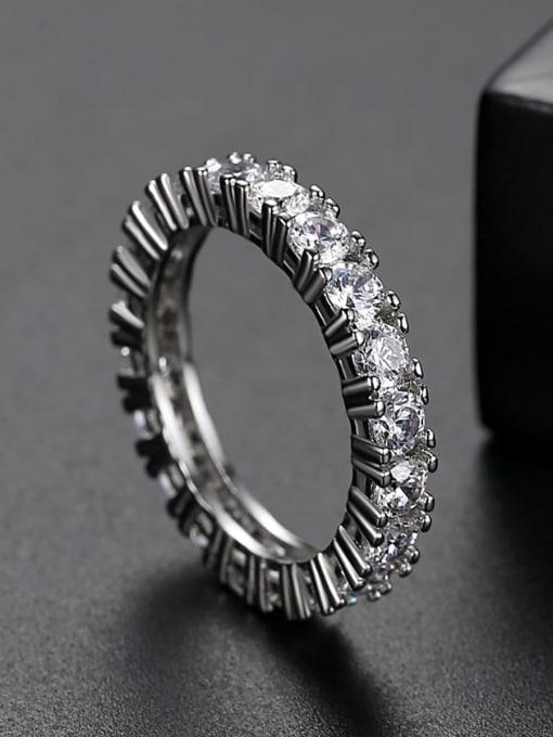 Teem Men Brass Cubic Zirconia Geometric Dainty Band Ring 2