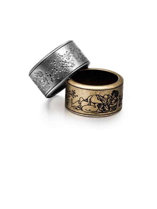 WOLF Titanium Steel Flower Vintage Band Ring 0