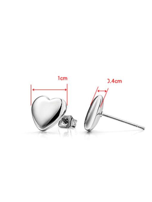 WOLF Titanium Steel  Smooth Heart Minimalist Stud Earring 1