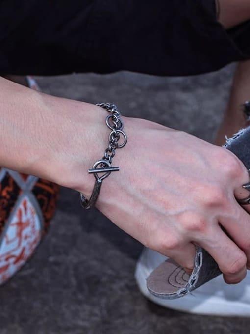 WOLF Titanium Steel Irregular Vintage Link Bracelet 3