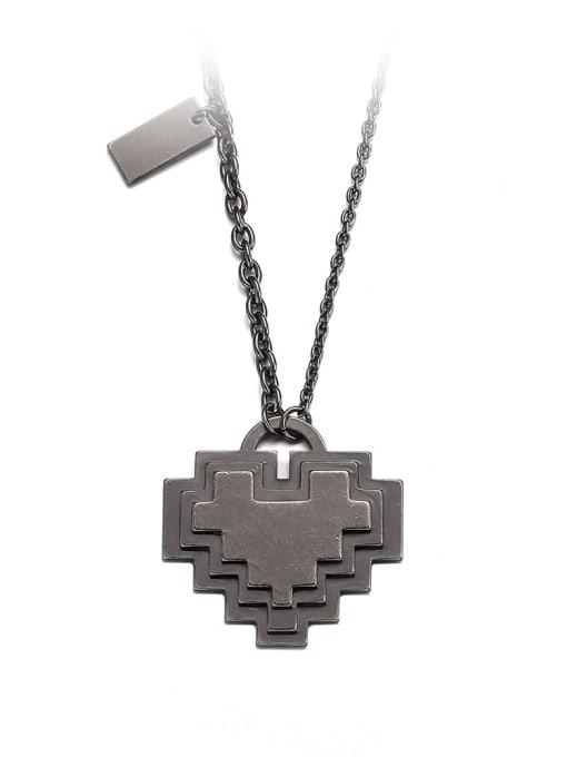 Ancient Titanium Steel Heart Minimalist Necklace
