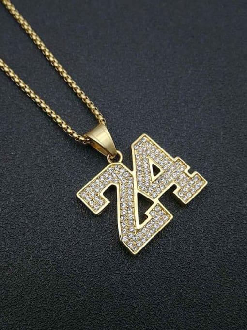 HI HOP Titanium Steel Rhinestone Number Vintage Necklace