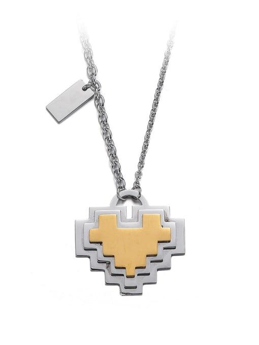 Steel color Titanium Steel Heart Minimalist Necklace