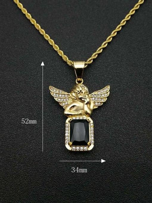 HI HOP Titanium Steel Glass Stone Angel Vintage Necklace 1