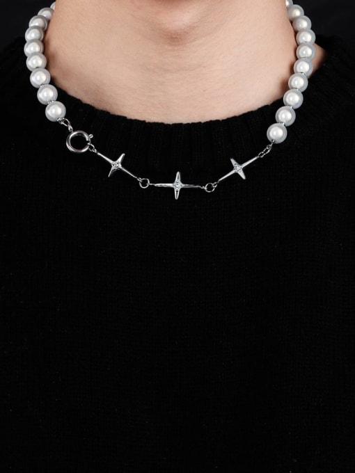 WOLF Titanium Steel Imitation Pearl Geometric Hip Hop Necklace 2