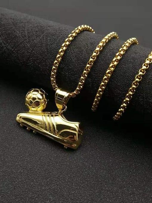 HI HOP Titanium Steel Irregular Hip Hop Football Sneaker Pendant Necklace 2
