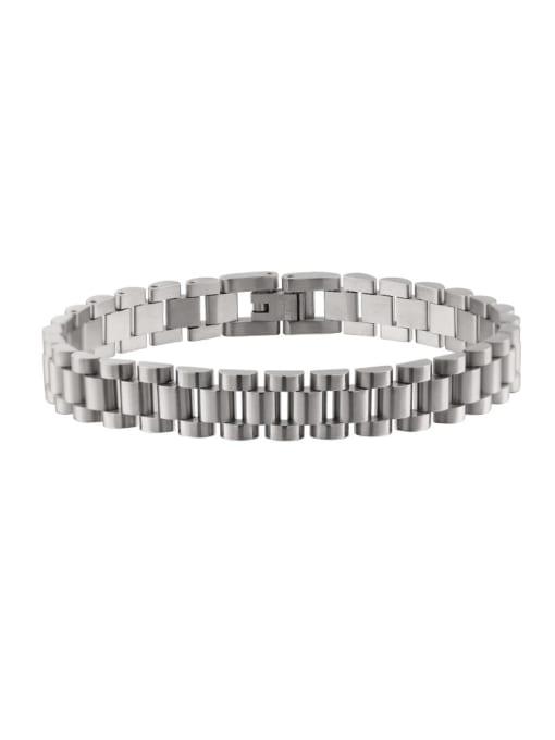 Steel color Titanium Steel Geometric Minimalist Link Bracelet