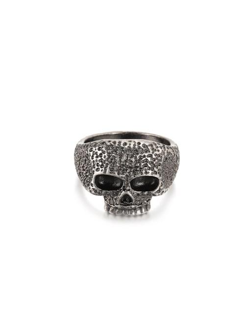 WOLF Titanium Steel Skull Vintage Band Ring 0