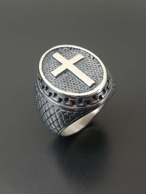 HI HOP Titanium Steel Cross Hip Hop Band Ring 0