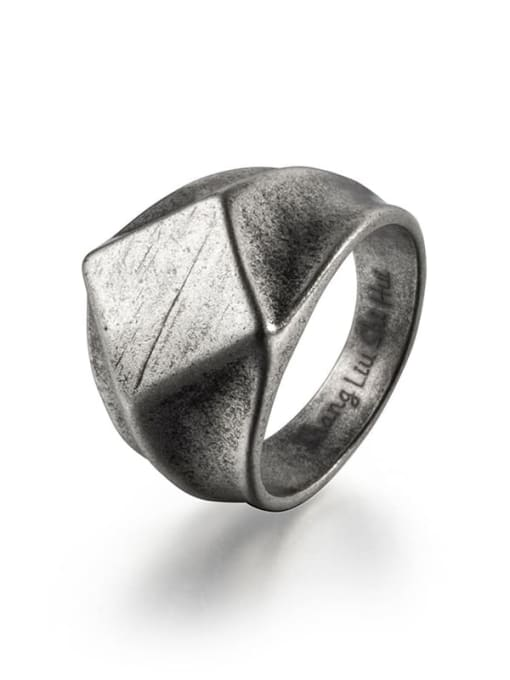 Antique  (size 8) Titanium Steel Irregular Vintage Band Ring