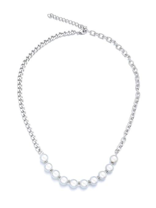 WOLF Titanium Steel Imitation Pearl Geometric Hip Hop Necklace 0