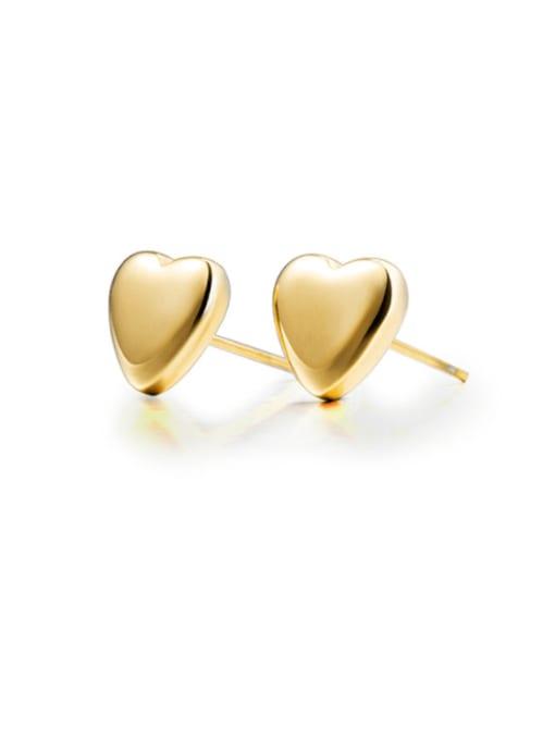 golden Titanium Steel  Smooth Heart Minimalist Stud Earring