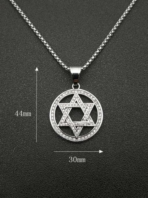 HI HOP Titanium Steel Rhinestone Hollow Star Vintage Necklace 1