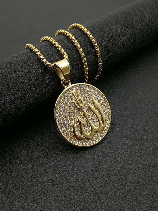 HI HOP Titanium Steel Rhinestone Round Vintage Necklace 3