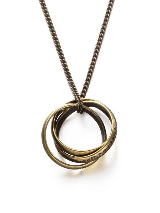 Bronze Titanium Steel Round Vintage Necklace