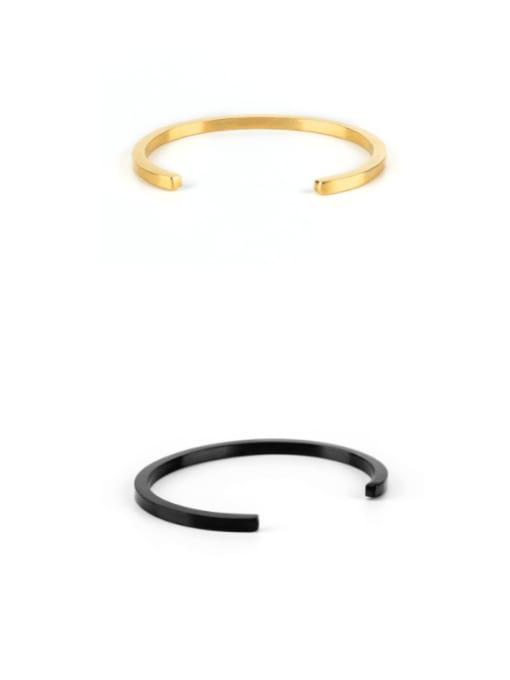 WOLF Titanium Steel Round Minimalist Cuff Bangle 0