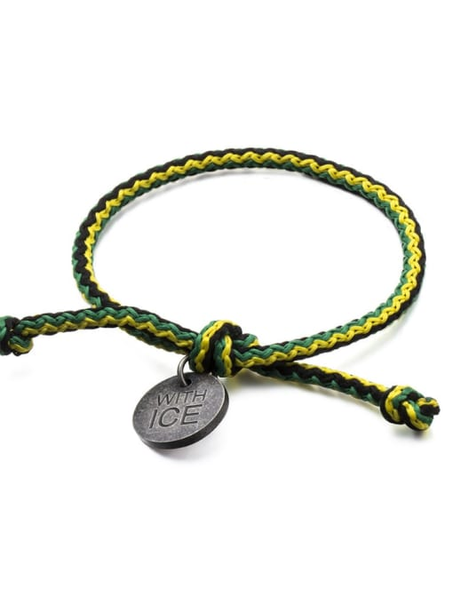 Dark green yellow black rope Titanium Steel Bowknot Hip Hop Woven Bracelet