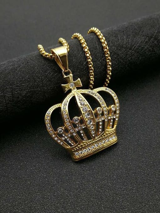 Gold+Chain:3mm*61cm Titanium Steel Rhinestone Crown Vintage Necklace
