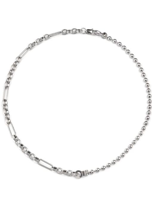 Steel color (55cm) Titanium Steel Bead Geometric Hip Hop Necklace