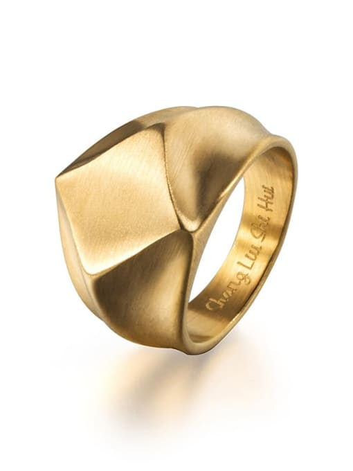 Gold (size 8) Titanium Steel Irregular Vintage Band Ring