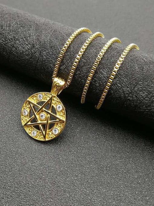 HI HOP Titanium Steel Rhinestone Star Vintage Necklace 2