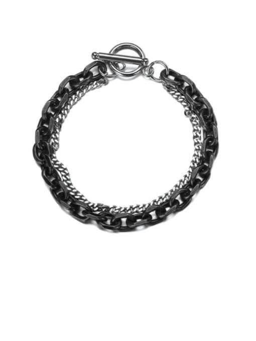 WOLF Titanium Steel Hollow Chain Hip Hop Strand Bracelet 0