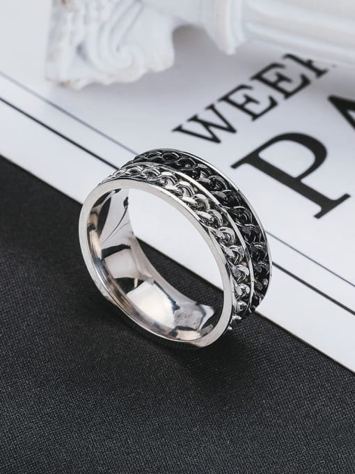 WOLF Titanium Steel Geometric Vintage Band Ring 1