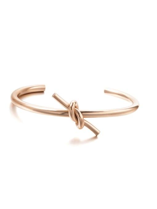 Rose Gold Titanium Steel Heart Knot Minimalist Cuff Bangle