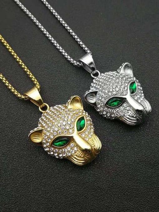HI HOP Titanium Steel Rhinestone Leopard Vintage Pendant Necklace