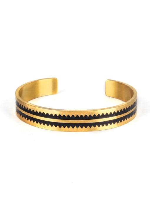 golden Titanium Steel Round Hip Hop Cuff Bangle
