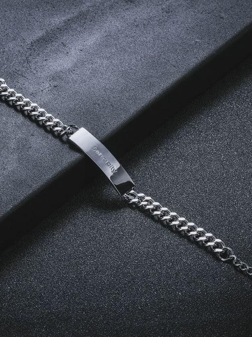 WOLF Titanium Steel Geometric Hip Hop Link Bracelet 3