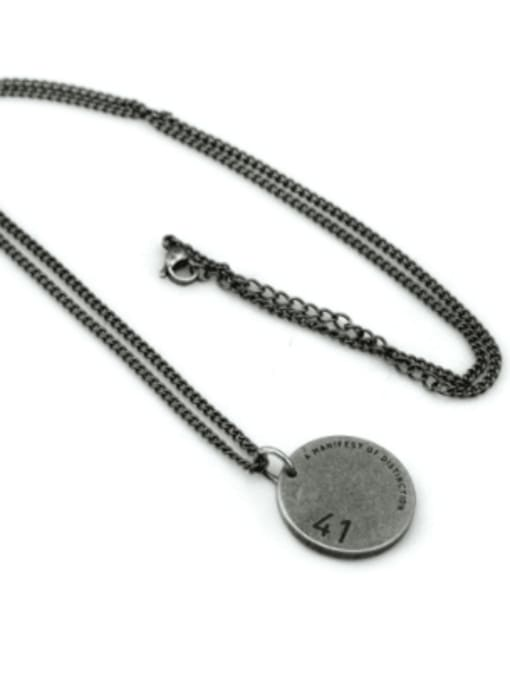 WOLF Titanium Steel Geometric Hip Hop Long Strand Necklace 1