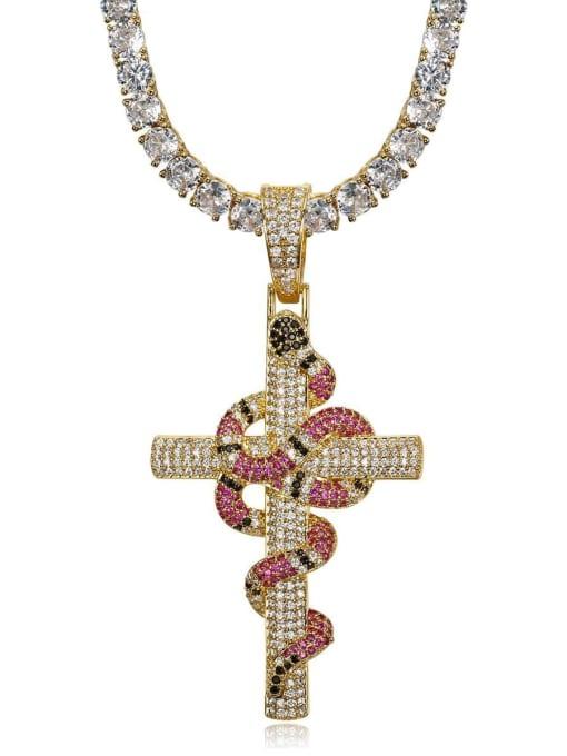 HI HOP Brass Cubic Zirconia Cross Vintage Regligious Necklace