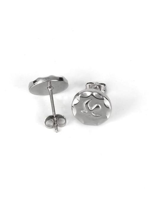 Steel color Titanium Steel Geometric Minimalist Stud Earring