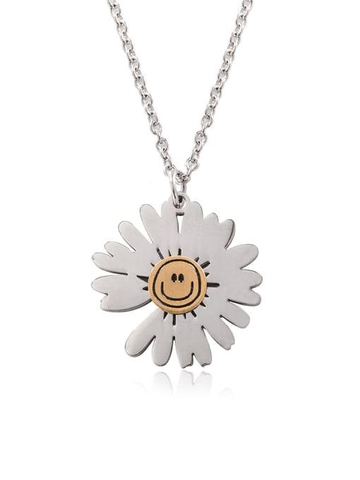 WOLF Titanium Steel Flower Hip Hop Necklace 0
