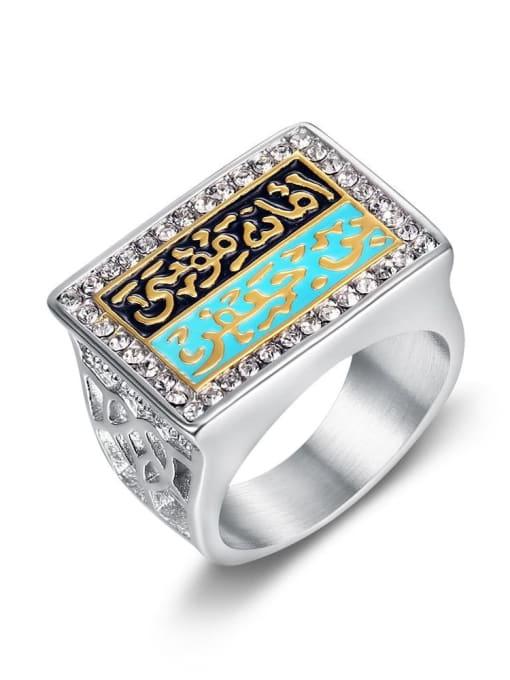 HI HOP Titanium Steel Enamel Geometric Vintage Band Ring 4