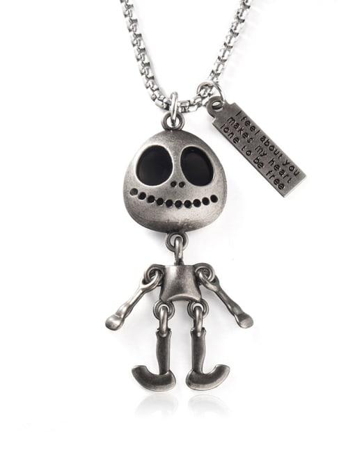Ancient Titanium Steel Skull Hip Hop Long Strand Necklace