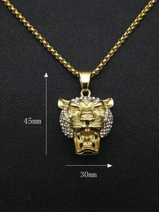 HI HOP Titanium Steel Rhinestone Lion Vintage Necklace 1