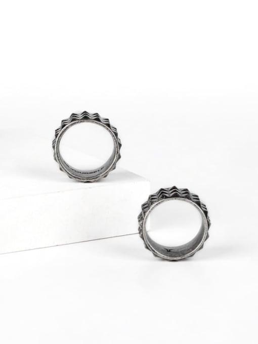 WOLF Titanium Steel Irregular Vintage Band Ring 1