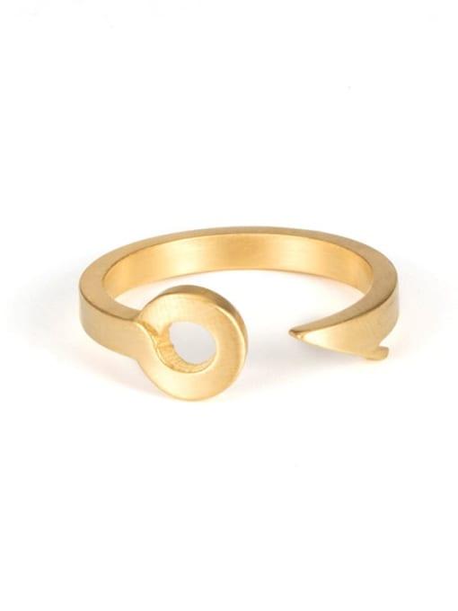 golden Titanium Steel Irregular Hip Hop Band Ring