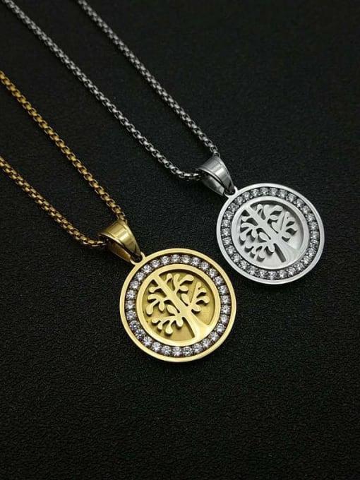 HI HOP Titanium Steel Rhinestone Tree Vintage Necklace