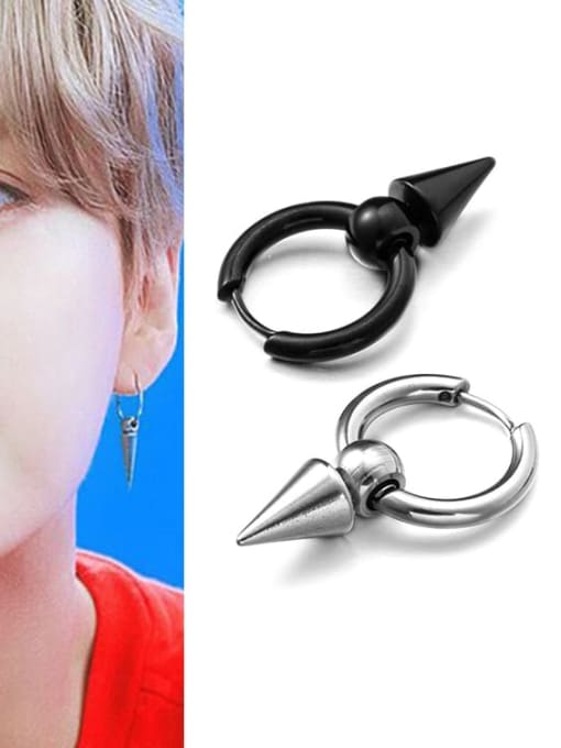 WOLF Titanium Steel Triangle Hip Hop Single Earring(Only one) 1
